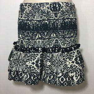 Zara smocked waist ruffle bottom mini skirt size S